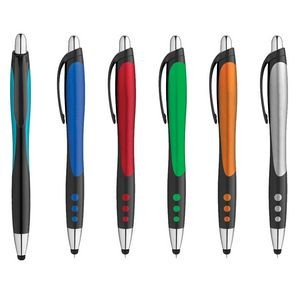 Plastic Click Action Stylus Blue Ink Gel Pen